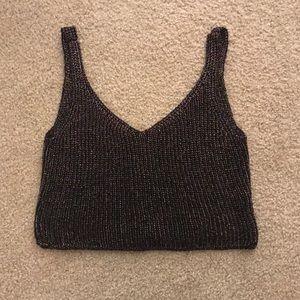 American Apparel Black / Rainbow Knit Crop Top